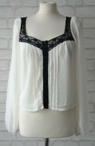 River-Island-White-With-Black-Lace-Trim-Vintage-Style-Blouse-Size-8
