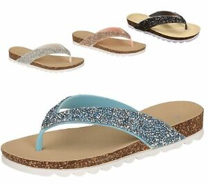 Womens-Casual-Toe-Post-Sparkly-Sandals-Ladies-Summer-Flip-Flops-Sliders-Mules