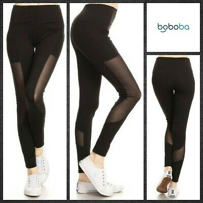 Thick Waistband Comfy Leggings with Mesh Panel by Yelete