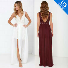 Neu Elegant Womens Summer Sleeveless Lace Party Evening Long Maxi Dress