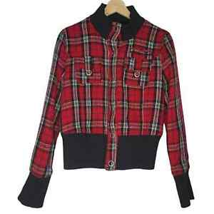 Max Rave Women's Red Plaid Wool Blend Bomber Jacket Size Large