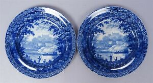 Antique-Pair-Clews-Staffordshire-Soft-Paste-Porcelain-Fishermen-Landscape-Plates
