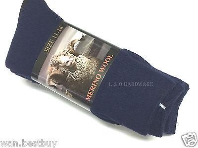 3 Pair Merino Wool Men Work Socks Black Size 11-14 (new)