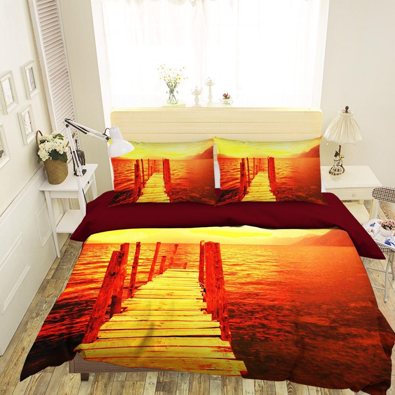 3D orange Bridge 05 Bed Pillowcases Quilt Duvet Cover Set Single King Size UK