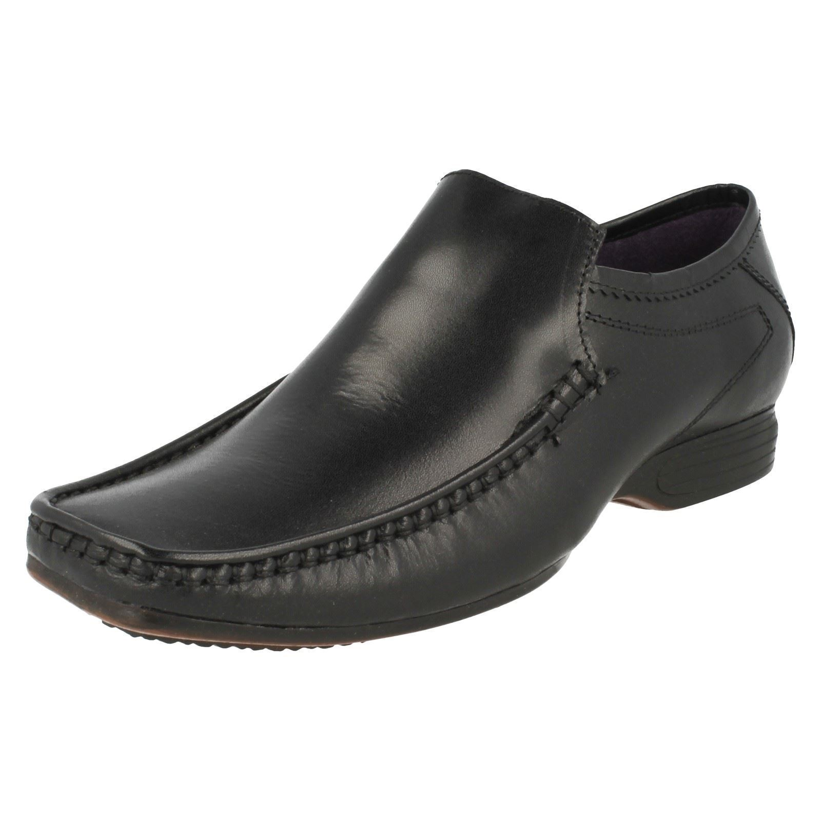 Mens HOPEB Black Leather Slip On shoes By PSL