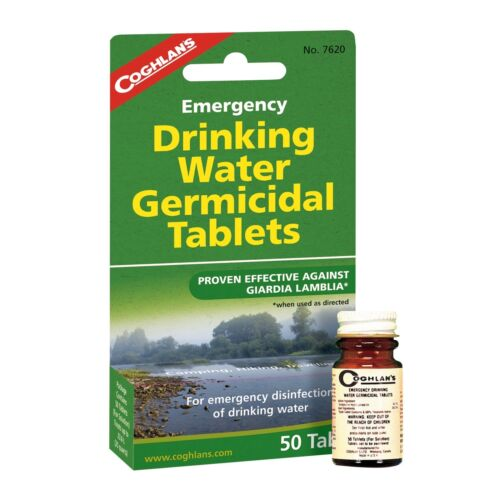 4-Pack de 50 Coghlan/'s Emergency Drinking Water Germicide comprimés de purification