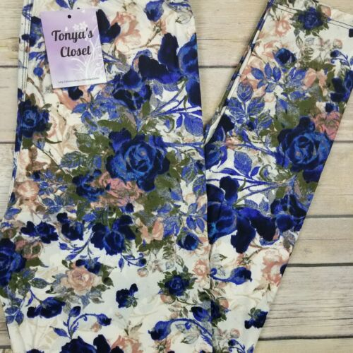Floral Leggings Flowers Rose Blue Buttery Soft ONE SIZE OS