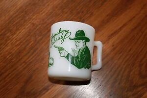 Cowboy-Mug-1950-039-s-Hazel-Atlas-Green-Hopalong-Cassidy-Coffee-Cup-Mug
