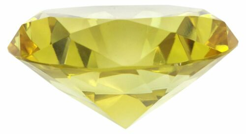 Yellow Hongville Fancy 80 mm Crystal Glass Diamond Paperweight