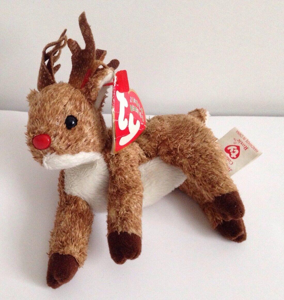 TY Beanie Babies Roxie Reindeer Jingle with Tags retro vintage