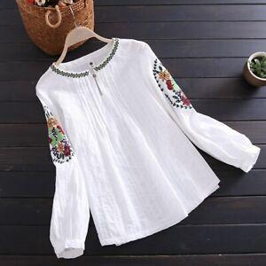 Lady-Lino-Algodon-Bordado-Top-Retro-Plisado-Camiseta-Pullover-Manga-Larga-Suave