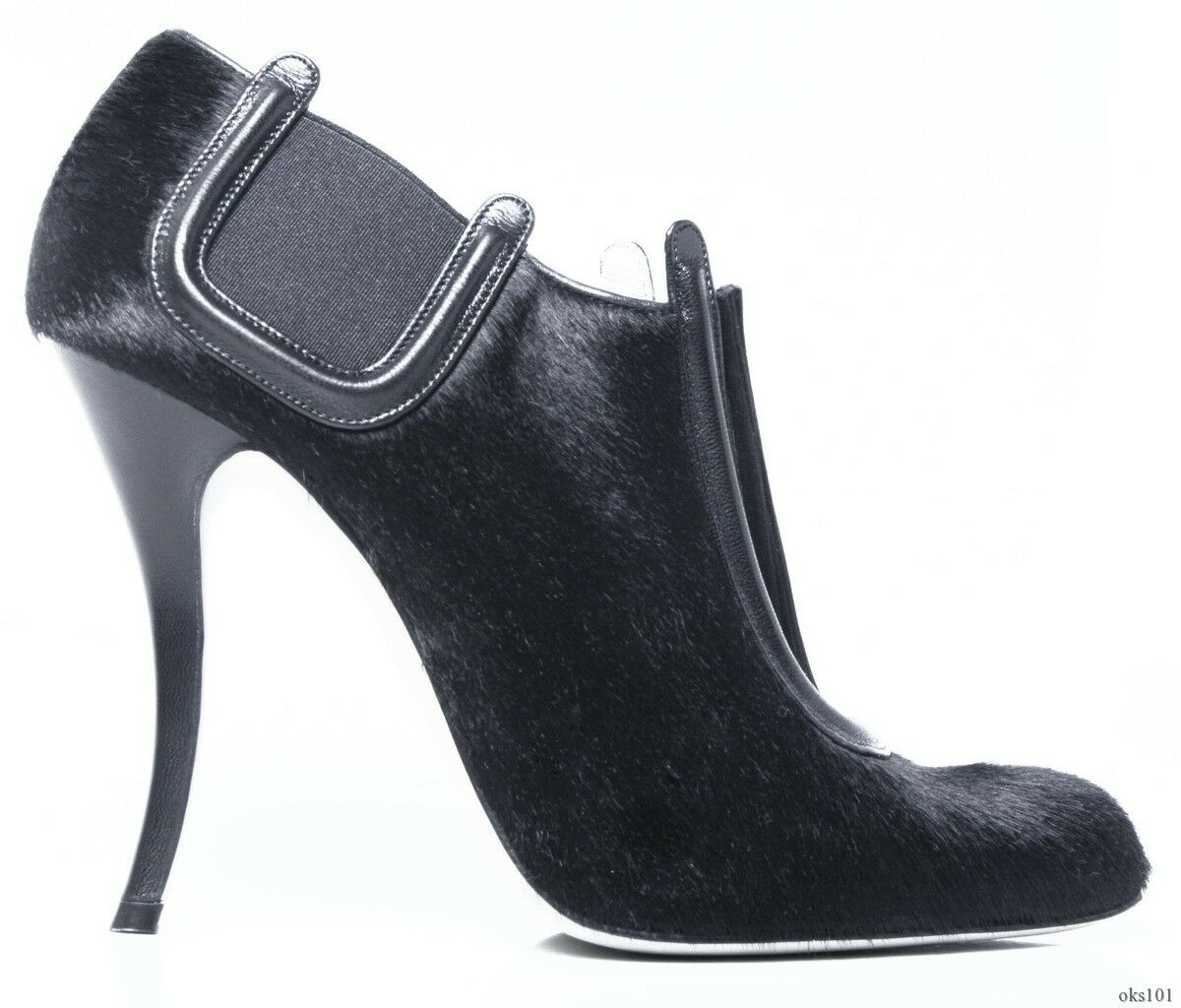New New New  1195 MANOLO BLAHNIK  Peresil  black pony hair ANKLE BOOTS booties - AMAZING c1c8a4