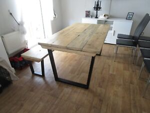 Tremendous Details About Vintage Style Industrial Reclaimed Wood Dining Kitchen Table With Bench Tables Pabps2019 Chair Design Images Pabps2019Com