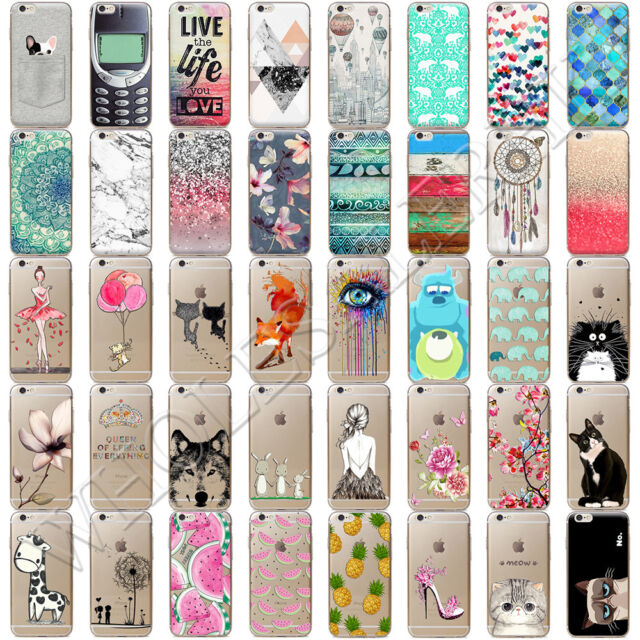 Crystal Clear Soft TPU Pattern Silicone Back Case Cover For iPhone 6s 6 7 Plus