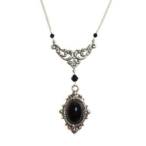 Victorian-Gothic-Black-Onyx-Gemstone-Necklace-Steampunk-Goth-Silver-SINISTRA