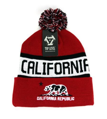 POM beanie California Republic hat Cuffed Winter Skull cap One size fits Most