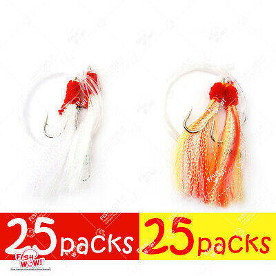 5-100 pcs 7//0 Shrimp Fly Rigs Red Yellow Rockfish Baits Select Qty
