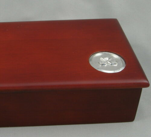 New Golfer Gift Pen Box 1 BOX Mahogany Wood w//Blue Interior Pen Box
