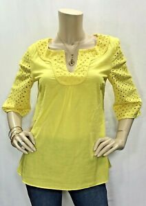 Tabitha-Anthropologie-Size-8-M-L-Yellow-Singing-Bells-Eyelet-Lace-Top-Blouse