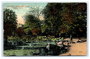 Postcard-Lily-Pond-Washington-Park-Albany-NY-1920-B36