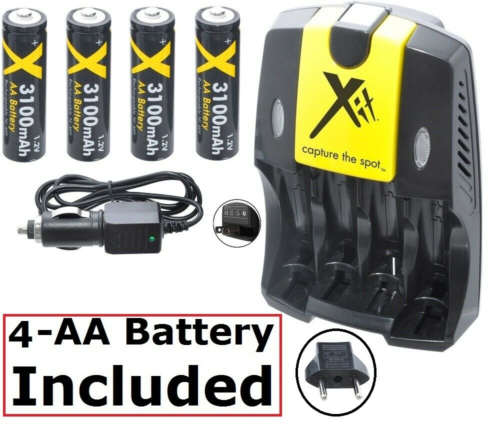 4AA Battery+AC/DC Charger + EURO Adapter Sanyo VPC-S880