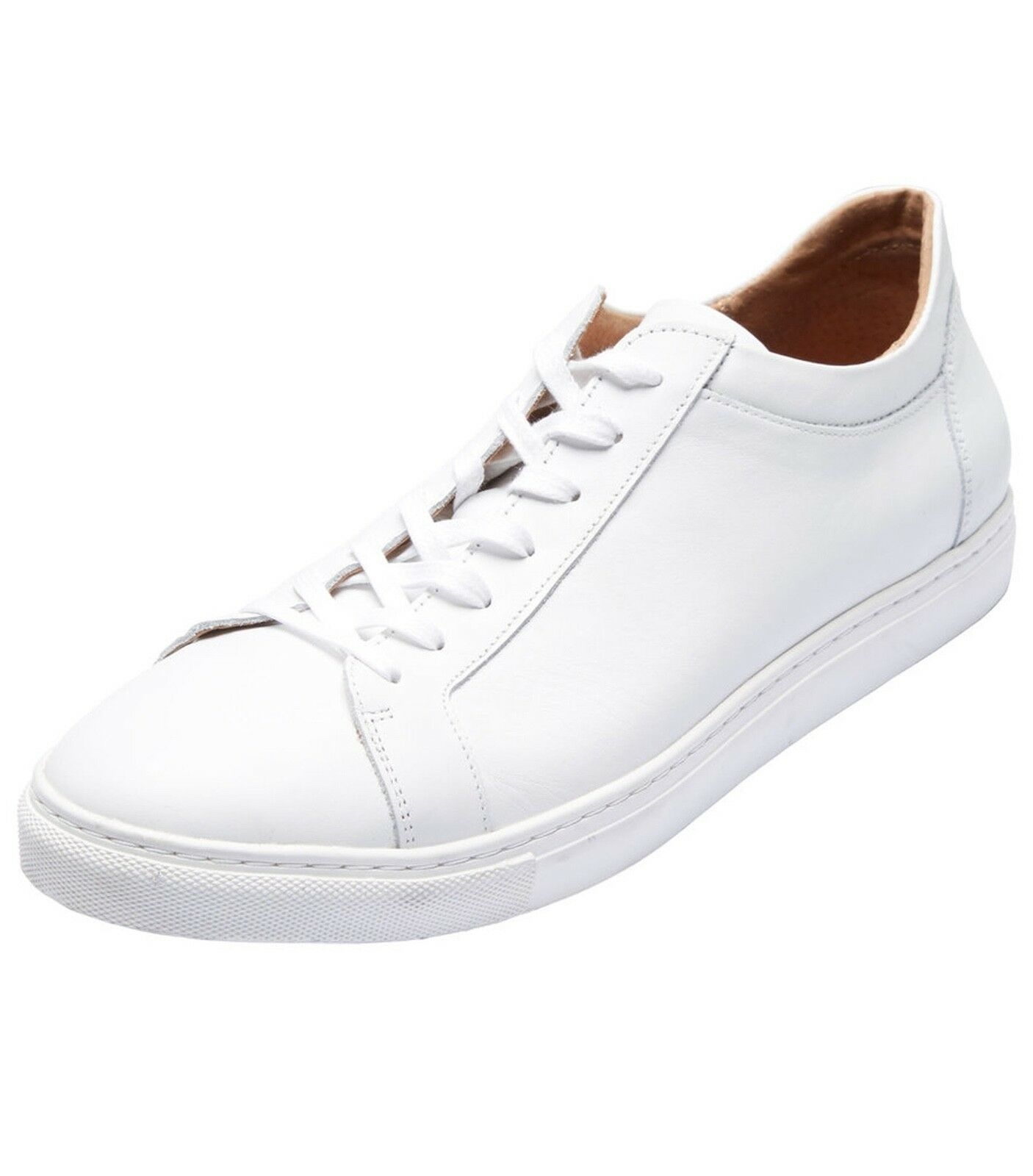 Selected Homme Mens Low Leather Casual Trainers Lace Up All White Skater Shoes