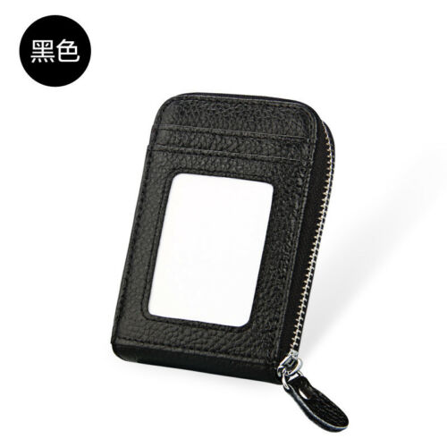 Men/'s Wallet Genuine Leather Credit Card Holder RFID Blocking Zipper Thin Pocket