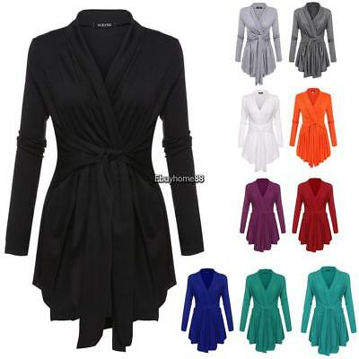 acevog Sexy Women's  Asymmetric Hem Open Front Cardigan Jumper Jacket Knit Top