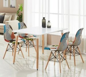 Patchwork-Eiffel-Halo-Dining-Set-4-x-Fabric-Chairs-amp-White-Halo-Table-Modern