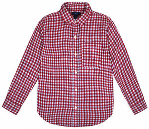 Boys-Long-Sleeve-Shirt-Kids-New-Ex-GAP-Checked-Red-T-shirt-Top-Ages-4-16-Years