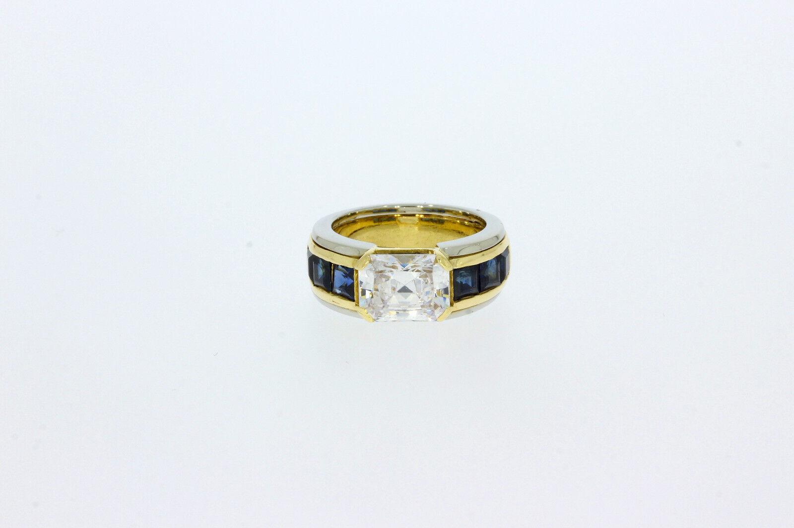 9975-750 W-yellowgoldrin mit Saphir+Zirkonia Rg 48 Breit 7,7 mm Gewicht 10 Gramm