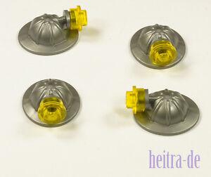 LEGO-4-x-Bergarbeiter-Helm-silber-flat-silver-mit-Kopflampe-98289-NEUWARE