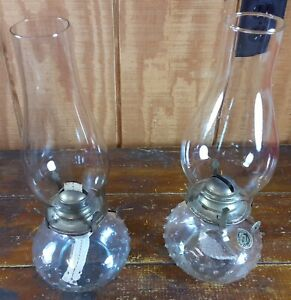 Set of 2 Kerosene Lamps Coal Oil Lanterns Crystal Clear Glass Hobnail Design