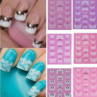 Beauty 3D Transfer Lace Design Nail Art Stickers Manicure Nail Polish Decal Tips