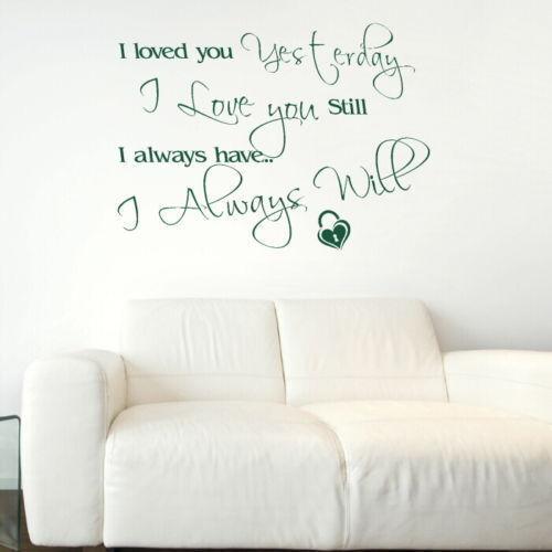 Amour Transfert Graphique Autocollant Romance decor pochoir Romantique Citation Autocollants Muraux
