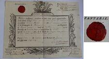 Congé militaire 1725 du Régiment Royal Comtois