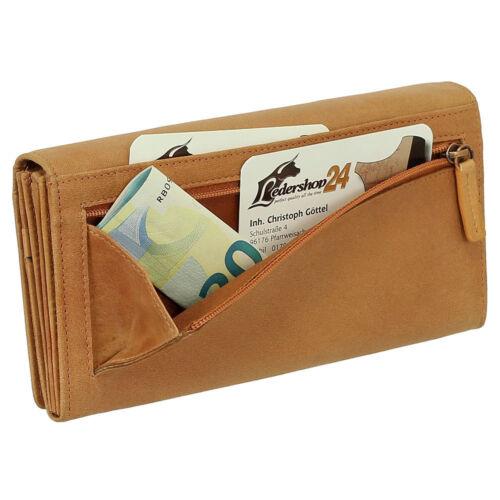 Luxus Leder Damen Geldbörse Portemonnaie Geldbeutel mit Druckknopf Branco 90271