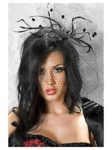 abacfc83b3252 Feather Net Veil Mini Top Hat Fascinator Hair Clip Burlesque Hen Do ...