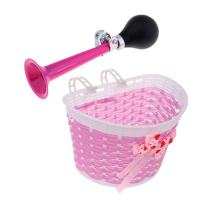 Kids Bike Bicycle Scooter Front Basket Air Horn with Squeeze Bulb Streamer