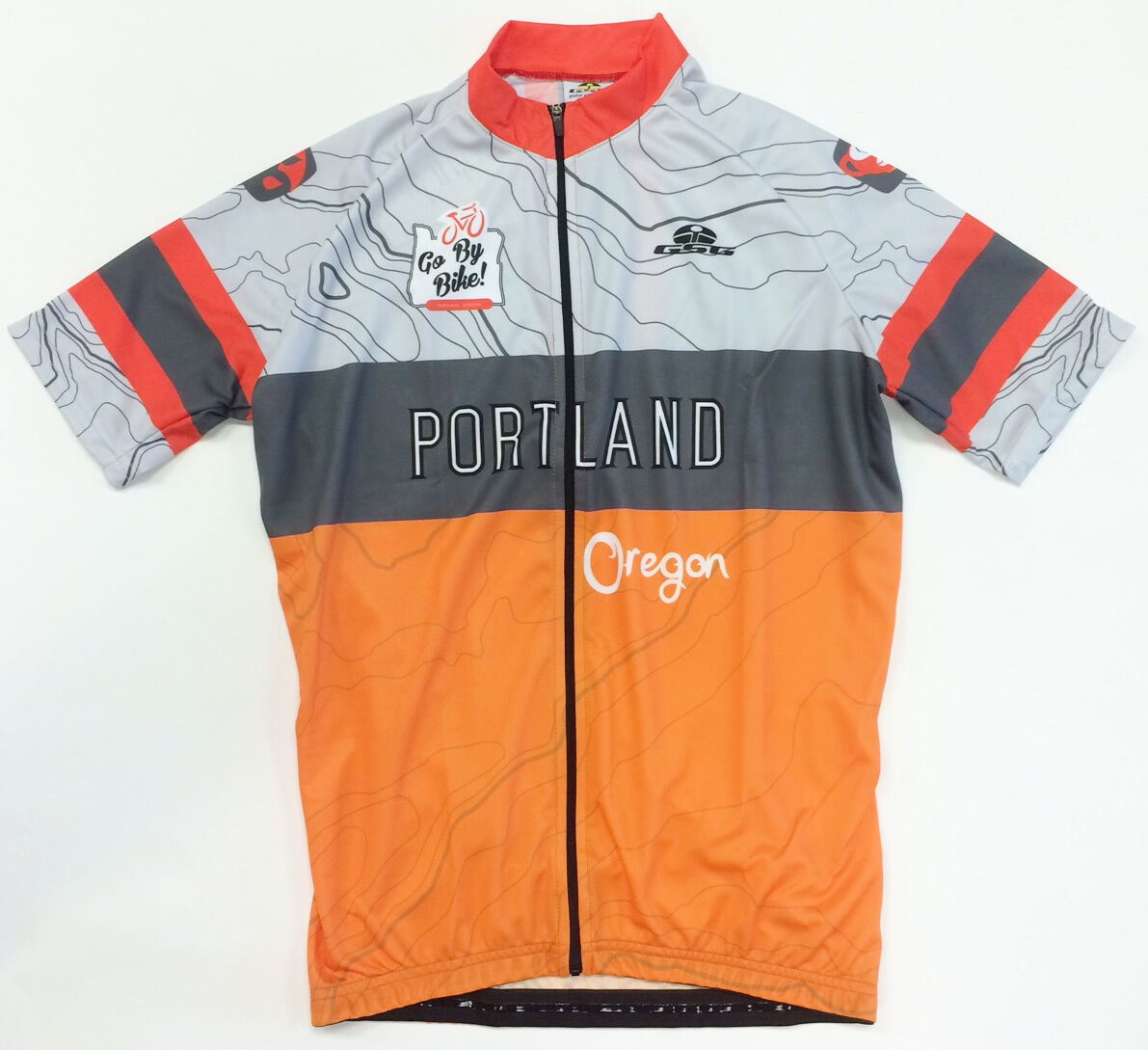 Portland Oregon CYCLING SHORT  SLEEVE JERSEY in orange. Made in  by GSG  general high quality