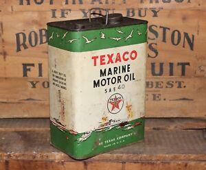 RARE 1 GALLON 40 SAE TEXACO MARINE MOTOR OIL CAN !!