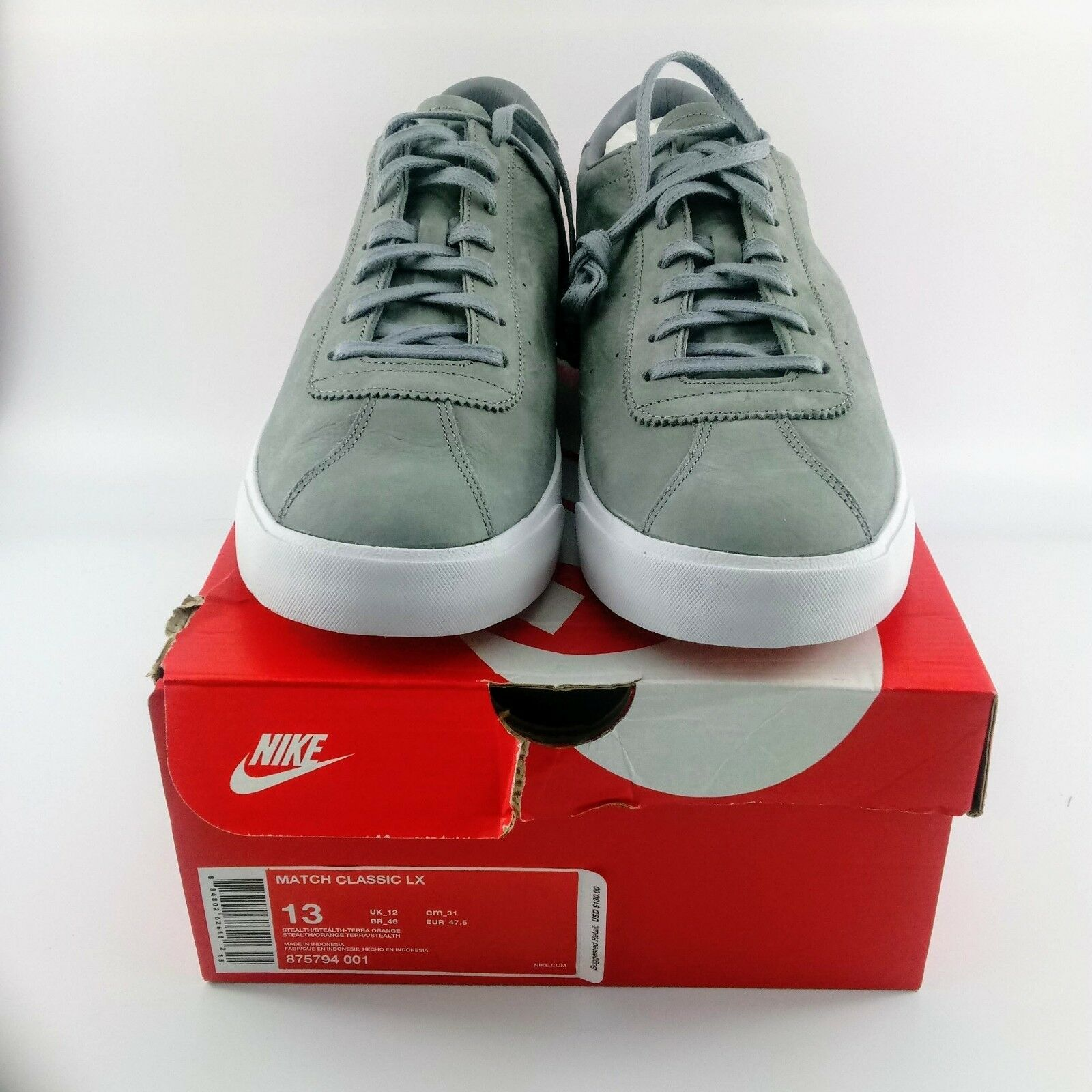 Nike Match Classic LX Tennis shoes - Grey   White - 875794-001 - Size  13