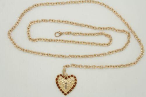 New Women Hip High Waist Fashion Narrow Belt Gold Metal Chain Heart Charm M L XL