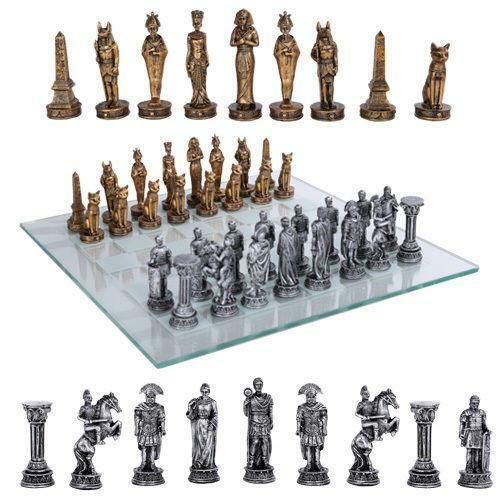 Gold Silver Roman Vs Egyptians Chess Set With Glass Board