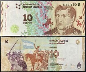 LOT OF 10 2015 LOT ARGENTINA BANKNOTE P359 5 PESOS UNC PREFIX A