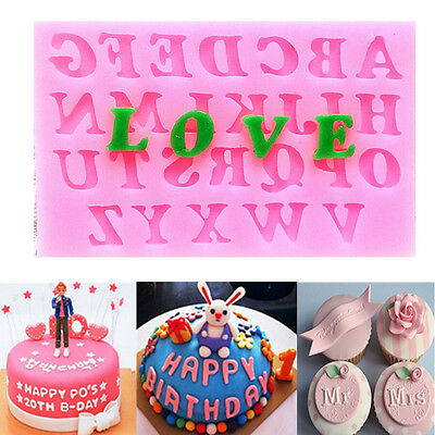 Silicone Alphabet Letter Trays Mold Mould Cake Fondant Decorating DIY Tools Pink