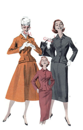 Butterick 7928 Vintage Sewing Pattern 1950s Women's Suit Peplum Jacket Skirt