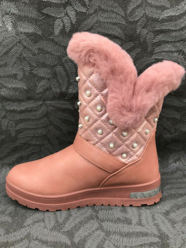 Damen Stiefeletten gefüttert Stiefel Perlen Boots Winter Schnee Schlupf ST18