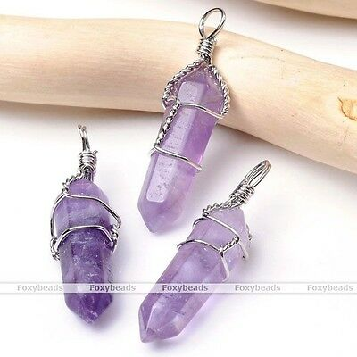 HOT Crystal Quartz Healing Point Chakra Gemstone Wire Wrap Pendant For Necklace