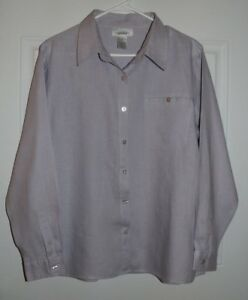Chadwicks-womens-12-Linen-Button-down-Blouse-Lilac-color-with-front-pocket